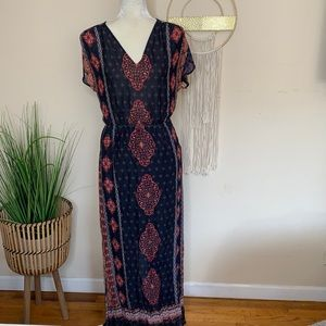 lucky brand • printed maxi dress with pockets